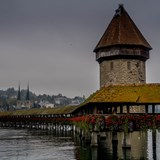 The iconic bridge in Lucerne