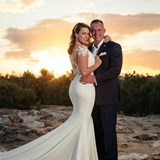 Happy couple with beautiful sunset