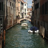A narrow canal in Venice