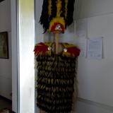 Tahitian museum ceremonial robe with feathers