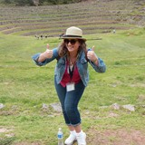 Laurie at the Incan agricultural terraces at Moray