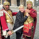 Outside the Colosseum in Rome, with new friends!