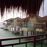 Over the water bungalows at the El Dorado Maroma