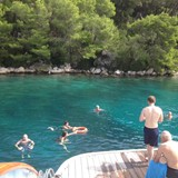 Swimming in the Adriatic, right off the stern