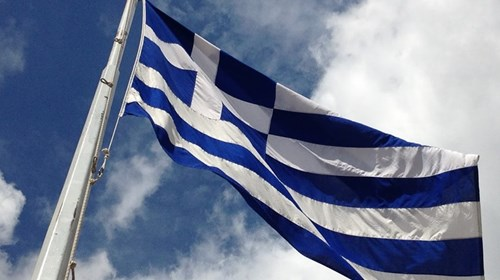 Greek Flag at the Acropolis in Athens