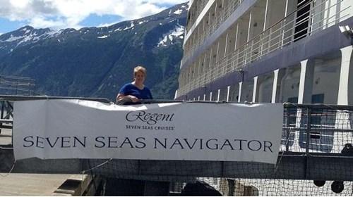 Re-boarding my Regent ship in Skagway.