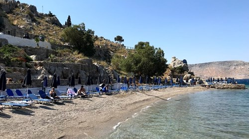 A beautiful sandy beach on the island of Symi.