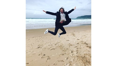Jumping for joy in Casais Portugal