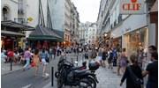 A vibrant pedestrian street in Paris.