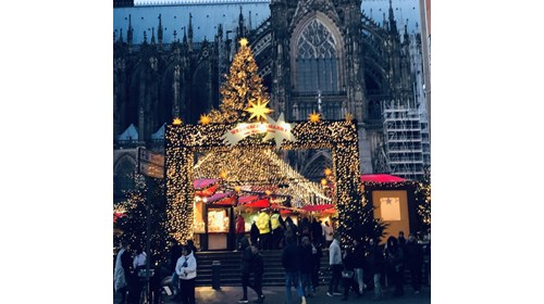 Christmas Market in Cologne Germany on Rhine River