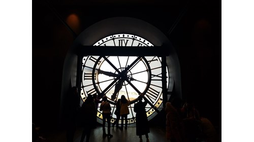 Musee d'Orsay clock tower looking at the Louvre