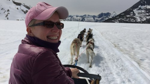 Dog sledding on the Denver Glacier, Alaska