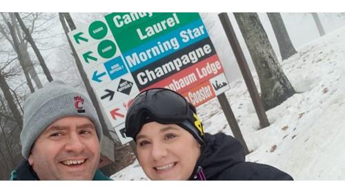 Husband & I skiing at Holiday Valley, NY
