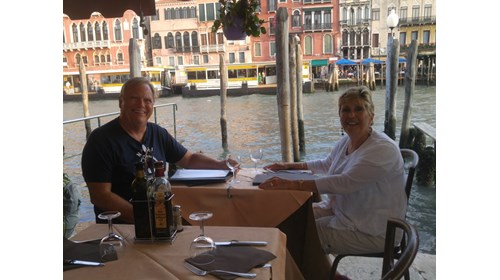 Carol and Phil dining on the Grand Canal in Venice