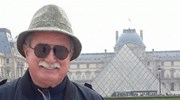 At the Louvre prior to a cruise to Normandy