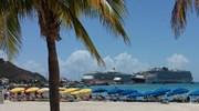 Cruise Ships from Great Bay Beach St.Maarten