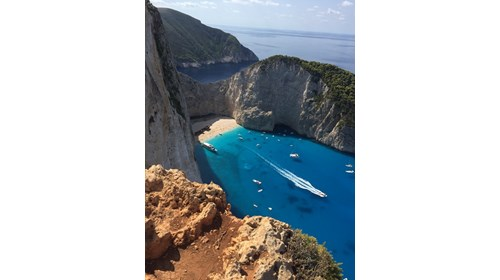 Post hike view of Navagio Beach!