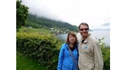 Enjoying the Norwegian Fjords with my husband.