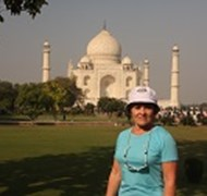 Anita at the Taj Mahal in India