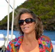 Anne sailing on the Friendship Rose between Bequia