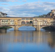 Breathtaking view of Ponte Vecchio in Florence, It