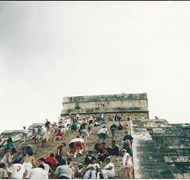Me and hubby climbing the pyramid at Chichen Itza.