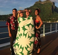 Aboard the m/s Paul Gauguin in Bora Bora.