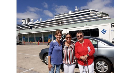 Clients ready to board Holland America's Oosterdam
