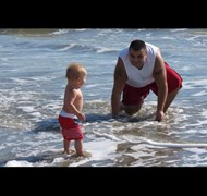 My son and Great Nephew having fun at the Beach
