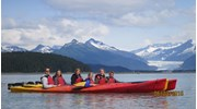 Kayaking by Mendenhall Glacier near Juneau, AK