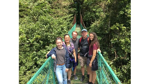 My family on one of Costa Rica's hanging bridges