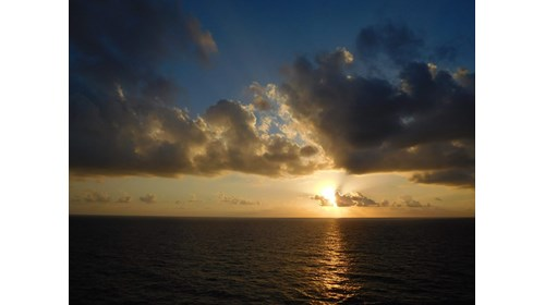 Sunset from the deck of my cruise cabin