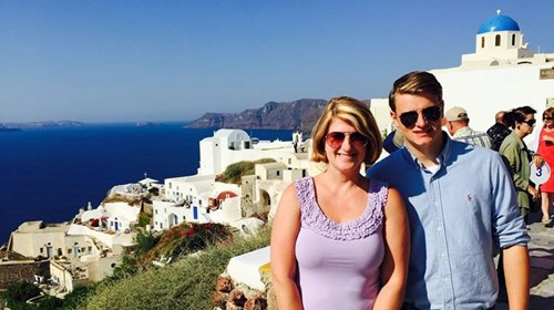 My Son and I in Greece